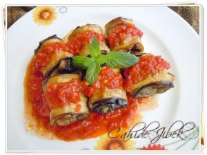 eggplant rolls covered in sauce