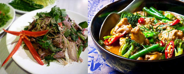 Thai salad and curry