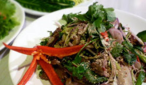 Thai beef waterfall salad