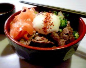 Gyudon in bowl